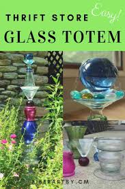 easy diy glass garden art totem