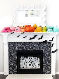 wallpapered fireplace surround