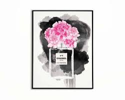 coco chanel poster peonies print chanel