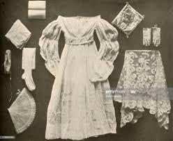 Wedding costume of Miss Sara Hayes, of Philadelphia', circa 1750, ....  Nieuwsfoto's - Getty Images