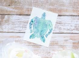 Sea Turtle Decal Ocean Watercolor Animal Tumbler Decal Sea Etsy