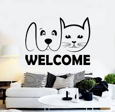 Vinyl Wall Decal Welcome Pet Shop Cat Dog Grooming Animal Decor Sticke Wallstickers4you