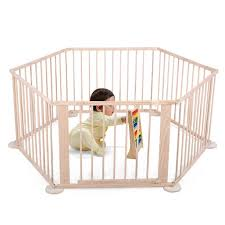 Veryke Baby Play Yard Wooden 6 Panel Baby Playpen For Kids Toddler Panel Play Activity Centre Yard Cute Kids Playpen With Gate Flexible Sturdy Play Pen Indoor Wood Color Walmart Com