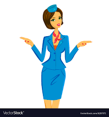 Flight Attendant Showing Emergency Exits on Plane Vector Image