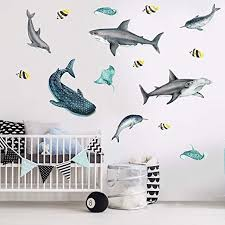 Amazon Com Chromantics Shark Sea Life Watercolor Wall Decal Sticker Kit Narwhal And Stingray Decals Home Kitchen