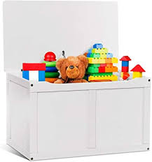 Amazon Com Costzon Wooden Kids Toy Storage Chest Organizer Children Large Storage Cabinet Bench With Flip Top Lid 2 Safety Hinge Toddler Room Organizer Box For Playroom Home White Kitchen Dining