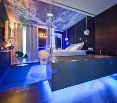 luxurious bathroom blue lights with