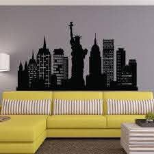 Amazon Com New York City Skyline Wall Decal Nyc Silhouette New York Wall Decals Statue Of Liberty Office Living Room Nyc Wall Art Home Decor C126 Home Kitchen