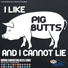 I Like Pig Butts And I Cannot Lie Car Window Decal Graphic Sticker