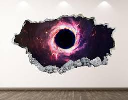 Black Hole Wall Decal Space Nebula 3d Smashed Wall Art Etsy