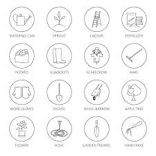 garden tools round thin line icons