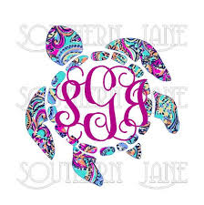 Lilly Pulitzer Inspired Sea Turtle With Monogram Decal Sticker For Yeti Cooler Rambler Tumbler L Monogram Decal Stickers Monogram Stickers Monogram Decal