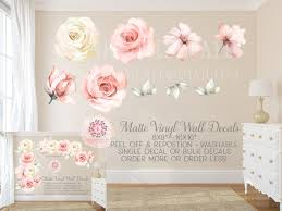 Rose Peony Floral Blush Ivory Pink Wall Decal Flower Decals Sticker Ar Pink Forest Cafe