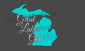 Great Lakes Girl Michigan Vinyl Car Decal Michigan State Etsy Lake Girl Girl Decals Car Decals Vinyl