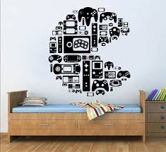 Amazon Com Gamer Wall Decal Bedroom Controller Video Games Gamer Pac Man Wall Decal Boys Teenager Room 100 Cm Wide Baby
