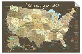 Brown Usa Map Wall Decal Geojango Maps