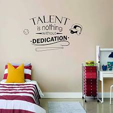 Amazon Com Talent Is Nothing Without Dedication Softball Wall Decals For Girls Boys Bedroom Inspirational Quotes Sport Decor Vinyl Stickers Teens Athlete Motivation Decor Batter Room Decoration Size 25x30 Inch Home Kitchen