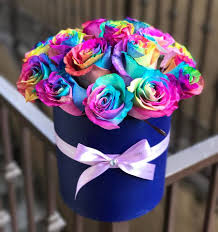 small rainbow rose box by boxed flowers