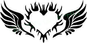 Angel Wings With Heart Tribal Vinyl Decal Sticker Ebay