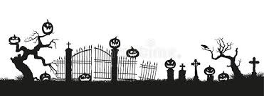 Holiday Halloween Black Silhouettes Of Pumpkins On The Cemetery On White Background Graveyard And Brok Halloween Painting Holidays Halloween Black Silhouette