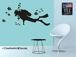 Amazon Com Wall Decal Vinyl Sticker Decals Art Decor Design Diving Scuba Diver Deep Sea Ocean Fish Bathroom Living Room Bedroom R222 Home Kitchen