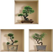 Amazon Com The Nisha Art Magic 3d Vinyl Removable Wall Sticker Decals Diy Set Of 3 Green Bonsai Home Kitchen