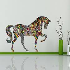 Ufengke Colorful Pattern Horse Fashion Design Wall Decals Living Room Bedroom Removable Wall Stickers Murals B071djl4qc