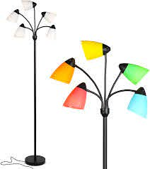 Brightech Medusa Led Floor Lamp Multi Head Adjustable Tall Pole Standing Reading Lamp For Living Room Bedroom Kids Room Includes 5 Led Bulbs And 5 White Colored Interchangeable Shades Black Amazon Com