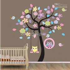 Hannah Likes This One Wholesale Owl On Swing Birds Flowers Tree Wall Art Decor Decals Kids Owl Tree Wall Decal Baby Nursery Wall Decals Tree Wall Decal