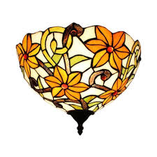 flower pattern wall lamp stained glass