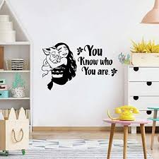Amazon Com You Know Who You Are Moana And Pig Pua Vinyl Wall Art Sticker Decal Moana Disney Themed Wall Sticker For Girls Boys Kids Room Design Bedroom Nursery Kindergarten House Decoration Size