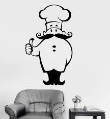 Vinyl Wall Decal Chef Restaurant Cook Kitchen Decor Stickers Mural Uni Wallstickers4you