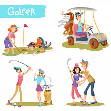 golfers funny cartoon characters vector