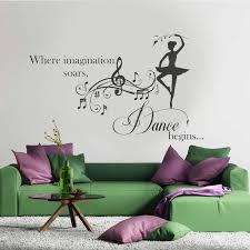 Nursery Girl S Room Wall Decal Dancing Girl With Music Wall Vinyl Sticker Inspiration Dancing Quotes Murals Diy A419 Wall Stickers Aliexpress