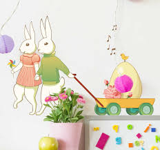 Easter Bunny Couple Wall Sticker Tenstickers