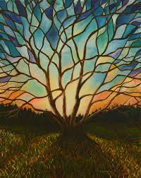 stained glass tree painting by manny