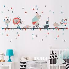 Wall Stickers For Kids Elephant Circus Animal Cartoon Wall Decor Stickers