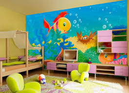 Cute Kids Room Wall Painting With Fish Pictures Ideas Jpg 1008 732 Kids Room Wallpaper Kid Room Decor Kids Bedroom Decor