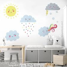 Clouds Wall Decal Weather Wall Decal Clouds Wall Sticker Etsy Cloud Wall Decal Nursery Wall Decals Kid Room Decor