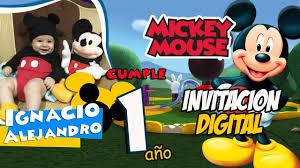 Tarjeta De Invitacion Digital Mickey Mouse Cumpleanos Youtube