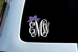 Monogram Car Decal With Bow Monogram Car Monogram Decal Bow Decal Lapt Run Wild Designs