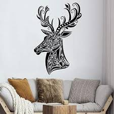 Deer Head Wall Decal Hunting Vinyl Sticker Decals Animal Home Decor Bedroom Nursery Design Interior Art Murals Ns478