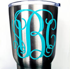 Amazon Com Custom Personalized Vine Monogram Initial Letter Sticker Decal Compatible With All Yeti Cups Phone Laptops Tumblers Car Windows Boats Notebooks Many Sizes And Glitter Options Available Kitchen Dining
