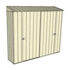 cream double sliding doors garden locker