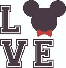 Love Mickey Mouse Bow Disney Cartoon Customized Wall Decal Custom Vinyl Wall Art Personalized Name Baby Girls Boys Kids Bedroom Wall Decal Room Decor Wall Stickers Decoration Size 30x30
