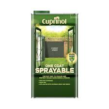 Cuprinol One Coat Sprayable Shed Fence Paint Forest Green 5l Homebase