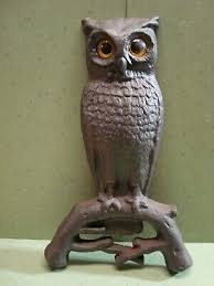 pair antique cast iron owl andirons