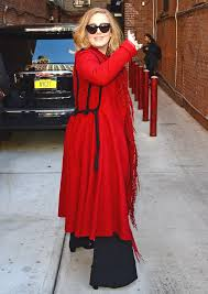 Adele Ditches the Black in Favor of a Stunning Red Coat