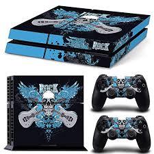 Amazon Com Zoomhit Ps4 Playstation 4 Console Skin Decal Sticker Gloss Skull Blue Black Rock Music Guitar Cranium Head Skeleton Art Custom 2 Controller Skins Set Video Games