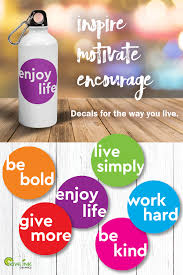 Motivate With These Bright Colorful Vinyl Stickers For Water Bottles Laptops And Car Windows Made From A Thick Dur Water Bottle Decal Vinyl Sticker Bottle